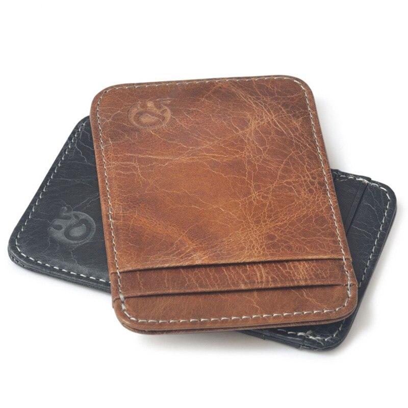 Venta al por mayor de caja de cuero de cera de aceite de tarjeta de crédito Mini Cartera de tarjeta de los hombres titular de la tarjeta de negocios tarjetas de efectivo Paquete de bolsillo para identificación de negocios