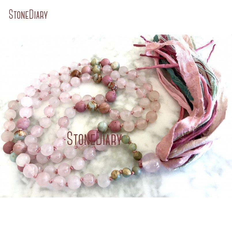 108 mix pedra rosa quartzs rhodonite africano opala coração chakra sari borla mala contas amor cura mala colar nm11105