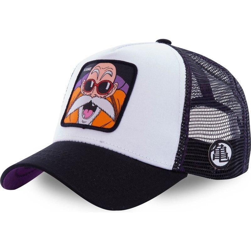 New DBZ Mesh Hat KAME Baseball Cap High Quality Black & White Curved Brim Snapback Cap Gorras Casque