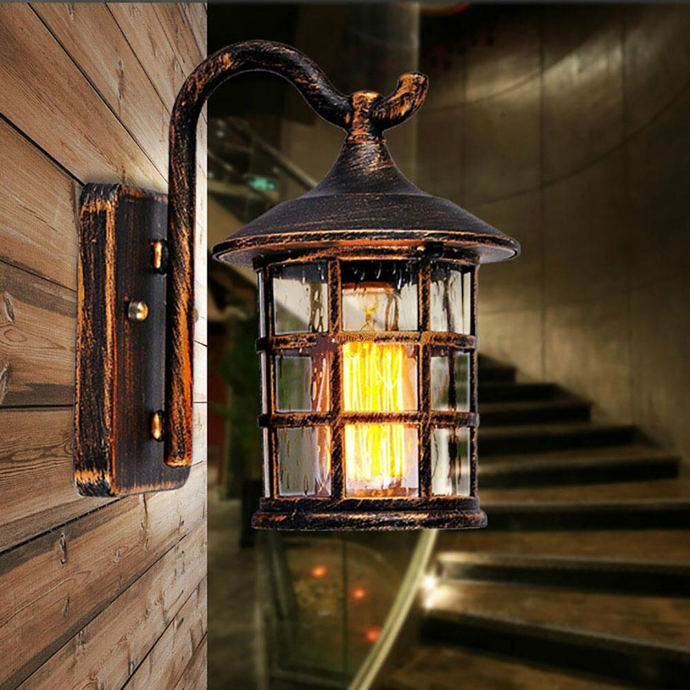 Outdoor waterproof wall lamp Retro aisle balcony street store decoration Loft style Metal outdoor LED wall light mx5071510