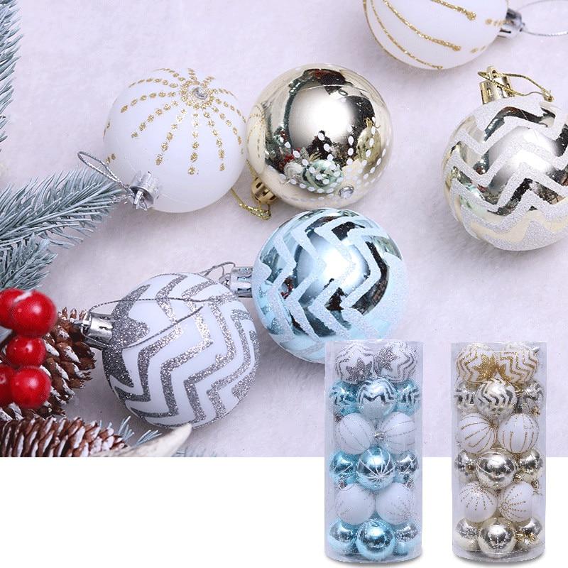 Boule de noël décorative 6cm 24 pièces   Ornements pour arbre de noël, accessoires pour la maison en forme de Bauble suspendu, fournitures de décoration pour la maison, cadeaux du nouvel an