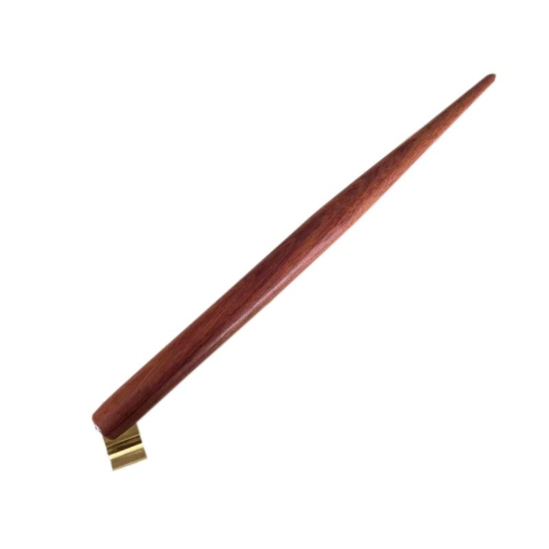 100 unidades por lote, madera maciza hecha a mano, placa de cobre, escritura oblicua, pluma de inmersión, titular de la pluma, el mejor regalo, pluma de inmersión de caligrafía Englaish