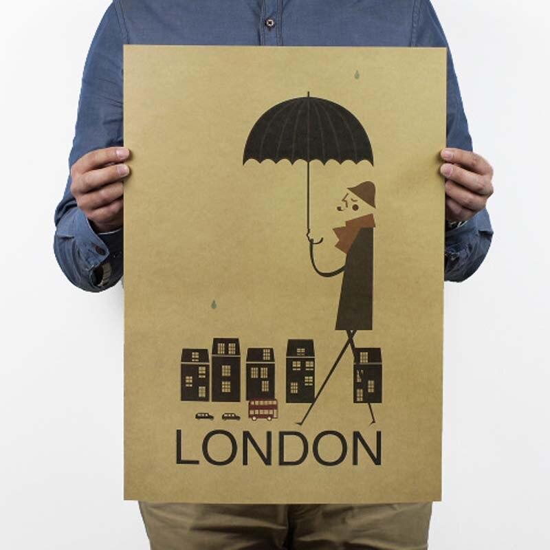 Un día en Londres, póster Vintage, papel Kraft, pintura, decoración del hogar, pegatinas, carteles, pegatinas de Pared, artesanías de papel
