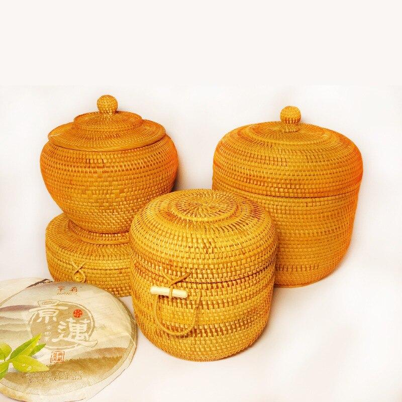 Vietnamien automne rotin sept-gâteau boîtes de thé Puer thé gâteau emballage boîte cadeau boîte snack boîte de rangement