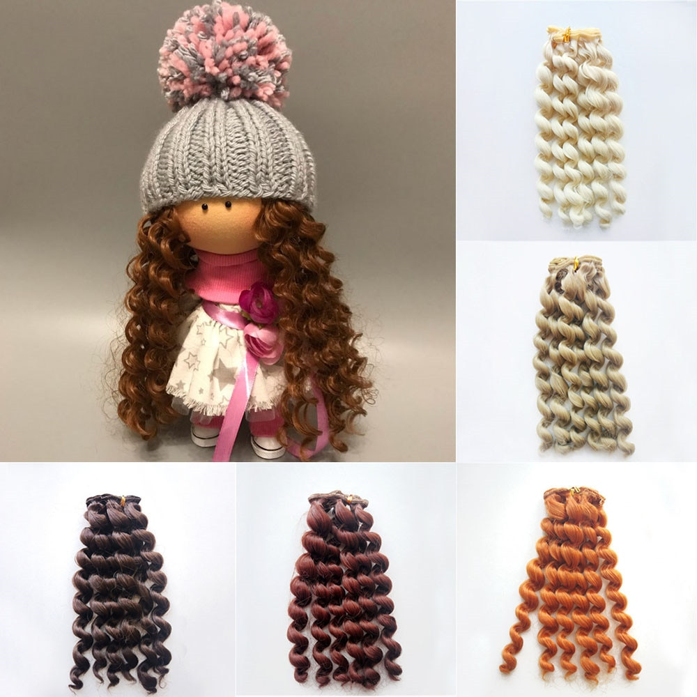 1pcs 20*100cm Screw Curly Hair Extensions for All Dolls DIY Wigs Heat Resistant Fiber Wefts