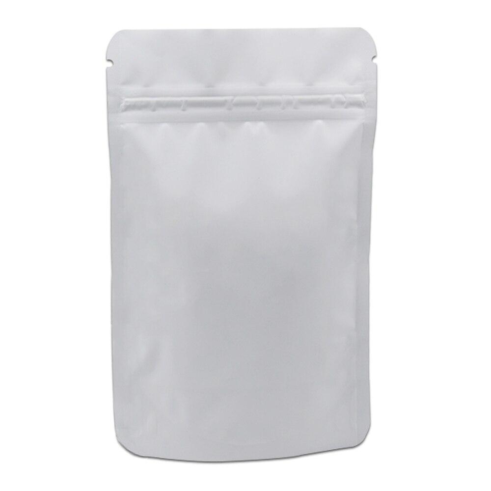 Bolsa de paquete de Mylar con cierre de cremallera blanco esmerilado bolsa de cremallera de papel de aluminio puro para alimentos secos especias de café almacenamiento embalado