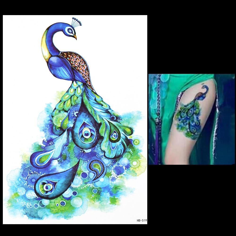 1 pc Bela 3D Decalque Tatuagem Temporária para As Mulheres Homens HB519 Vivid Projeto Nobre Pavão Pena Verde Etiqueta Do Tatuagem Do Corpo Braço arte