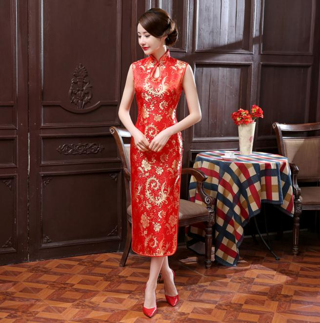 Summer New Red Chinese Women Long Dress Traditional Silk Satin Cheongsam Sexy Qipao Novelty Casual Dress S M L XL XXL WC061