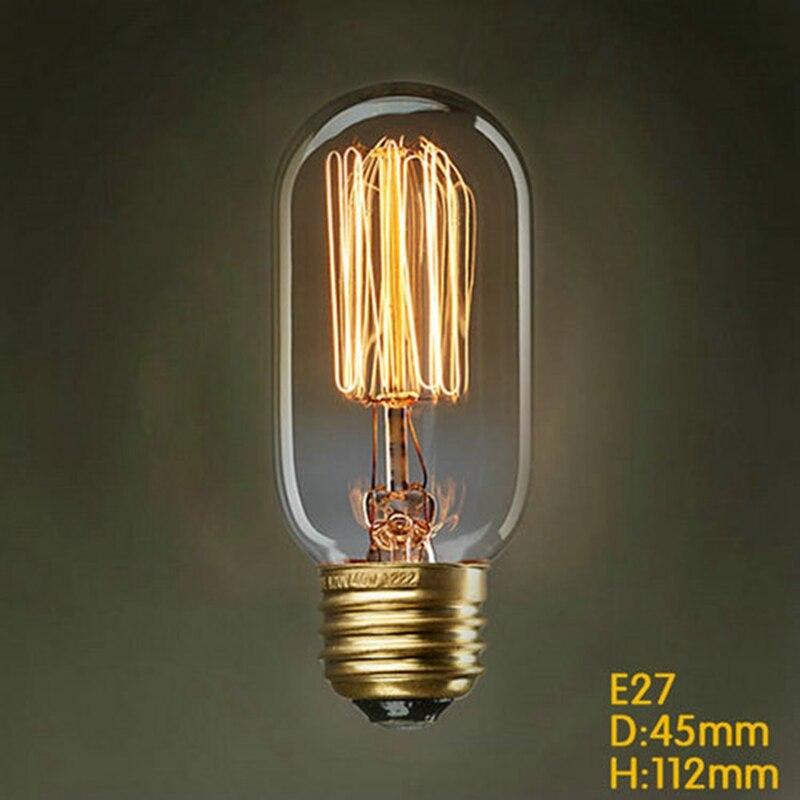 T45 40 W Edison bombillas de luz Vintage lámpara DIY hecho a mano de artefactos fashional bombilla incandescente de Edison-Lámpara E27/220 V