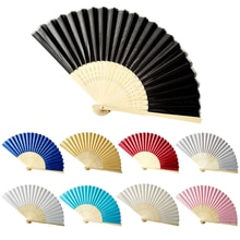 Abanicos plegables de 9 colores, abanicos de baile para fiestas de bodas de bambú + abanico de tela plegable, abanico de mano de Color sólido, decoración de abanico