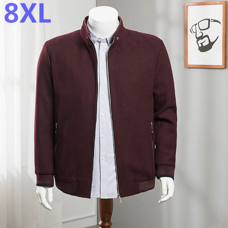 Gran tamaño 8XL 7XL abrigo de lana de alta calidad ropa de marca chaquetas de invierno para chaqueta rompevientos para hombre grueso abrigo de lana