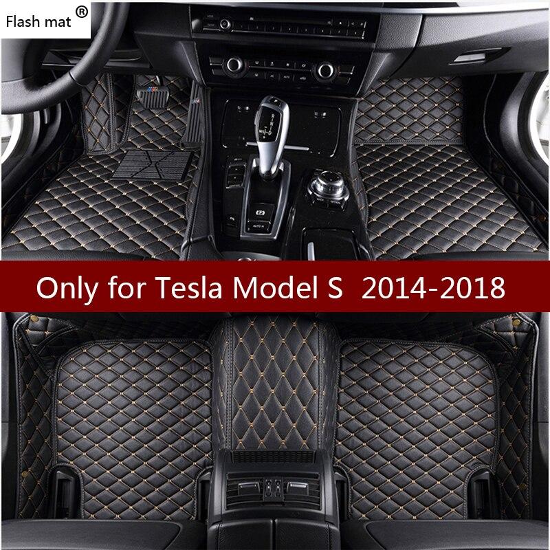 Alfombrillas de cuero Flash Mat para coche Tesla Model S 2014 2015 2016 2017 2018 almohadillas de pie personalizadas alfombra para automóvil cubiertas de coche