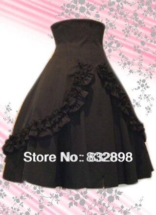 Free Shipping Black Ruffled Long Cotton Lolita Skirt