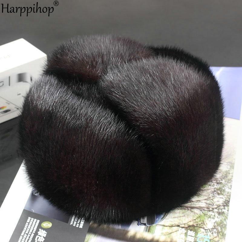 Harppihop*men mink fur hat Men's Mink Fur Trapper Cap Genuine Sheepskin Leather Hunting Hat Ushanka