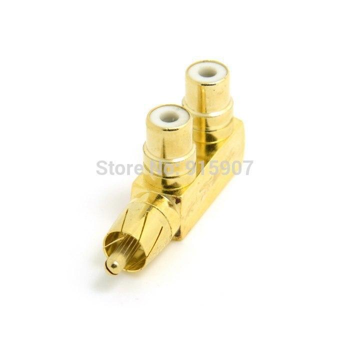10 unids/lote Cablecc Chenyang Color dorado 90 grados en ángulo audio RCA AV divisor adaptador de enchufe macho a hembra doble extensión de tipo F