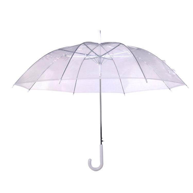 Transparent Long-handle Rain Umbrella Ultra Light Women Kids Parasol Rain Umbrella Semi-automatic Female Umbrellas
