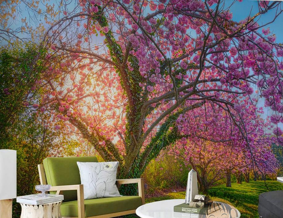 Papel pintado de lujo personalizar el papel pintado de la foto en 3d mural de la habitación Sakura bulevar 3d papel pintado para paredes murales de pared en 3d