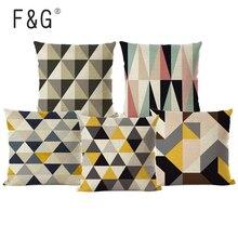 Cubiertas de Cojines geométricos nórdicos, triángulos geométricos, tejido de lino Para funda de almohada Beige, funda de almohada, Cojines Decorativos Para sofá