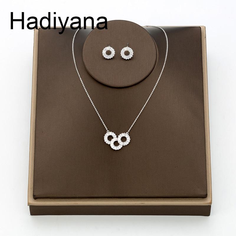 Hadiyana Trendy Fashion Round Bride Goddess AAA Zircon Set Hot Sale Shiny Sets For Women Necklace Earrings Jewelry Party TZ8111