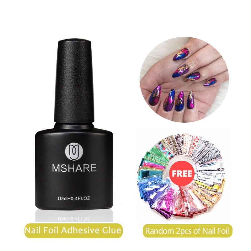 MSHARE Nail Foil Adhesive Transfer Gel Glue Holograph Sticker Polish Set 10ml Free Starry Paper Prin