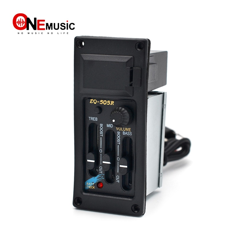 3 banda mano EQ-505R Ecualizador para guitarra acústica ecualizador amplificador preamplificador recogida de guitarra con 6,5 MM de salida negro parte de guitarra