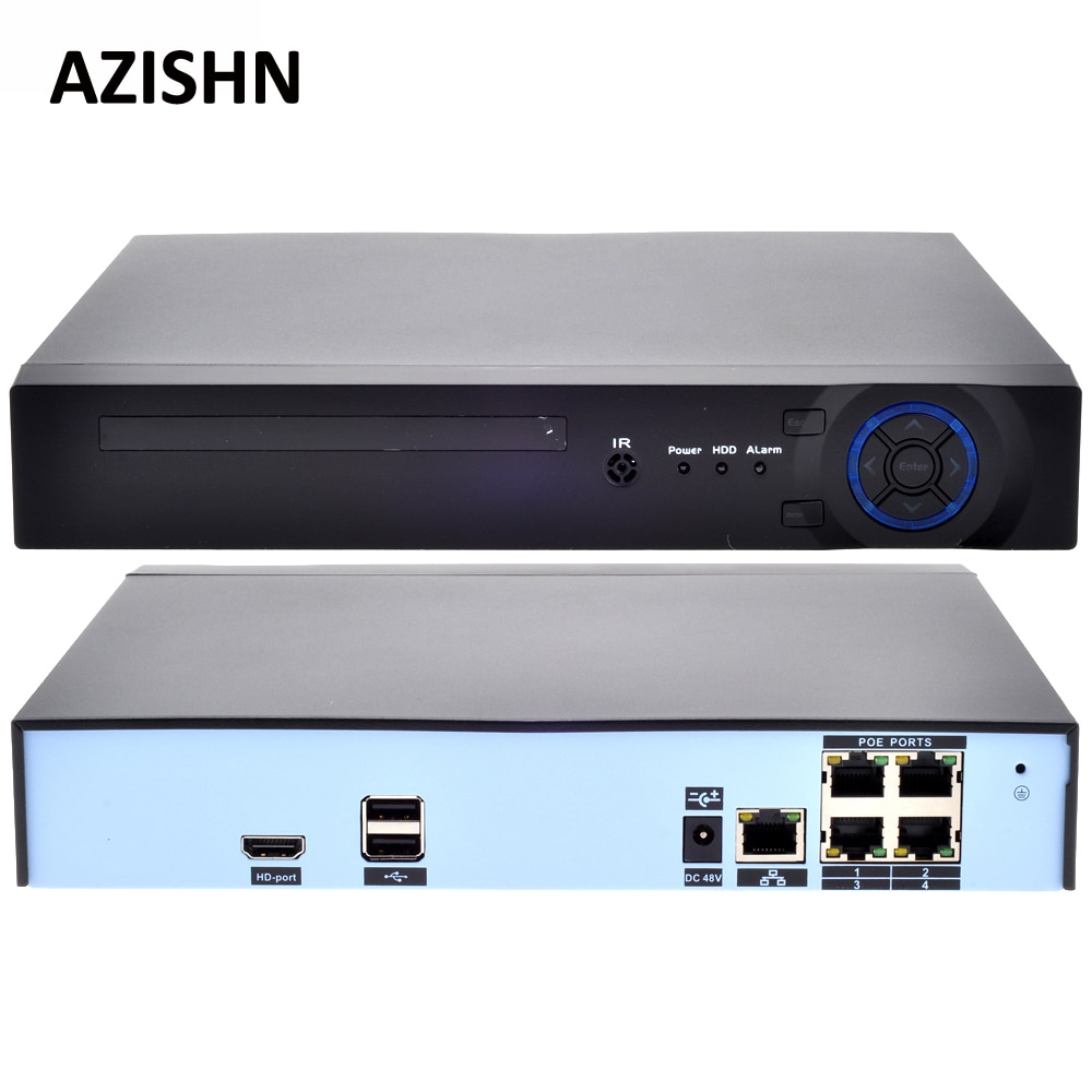 AZISHN 48V POE 4CH 5MP/4MP H.265 H.264 POE NVR DVR CCTV System ONVIF Real Time Network  Hi3798M for IP Camera XMEYE P2P 3G WIFI