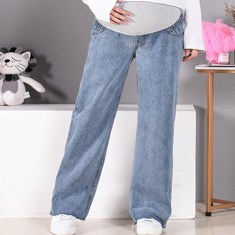 Women Pregnancy Denim Wide Leg Pants Pregnant Loose Elastic Waist Trousers Plus Size Bottoms Maternity Clothes Big Size enlarge