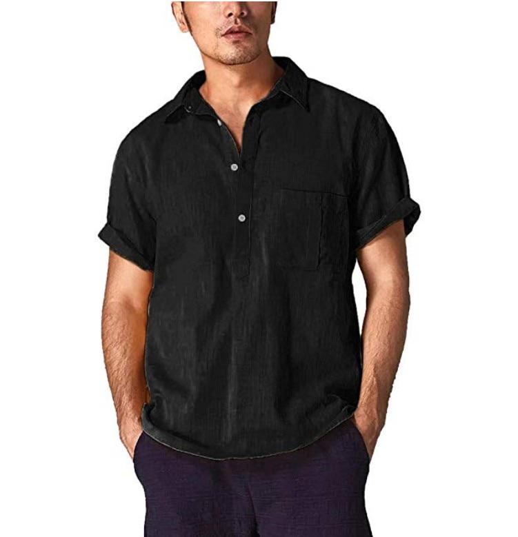 Camisas de algodón y lino para hombre, camisas informales con cuello en V y botones, Jersey transpirable, camisa de verano con mangas enrolladas, geniales camisetas de talla grande