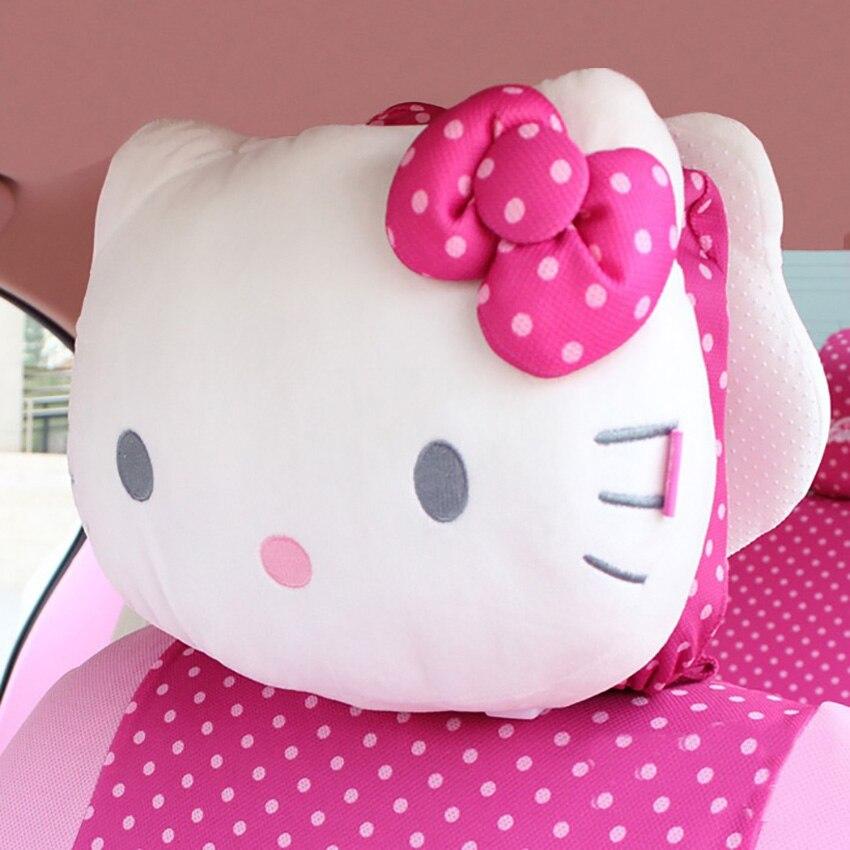 Lovely pink cat Cartoon car headrest Head cushion Rest pillow Car accessories Car styling