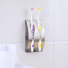 Creative stainless steel punching, sticking and hanging metal toothbrush holder enlarge
