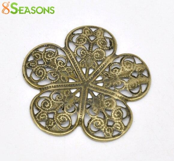 8SEASONS 50 Bronze Tone Filigree Flower Wraps Connectors 36x36mm (B14161)