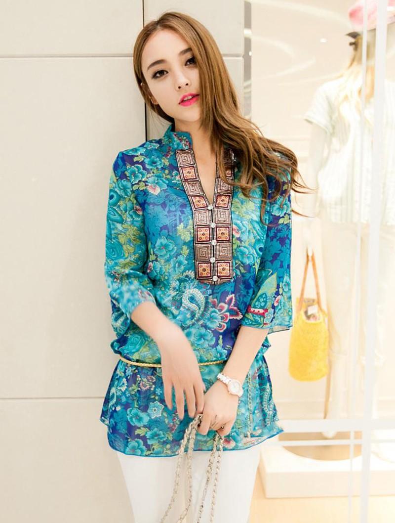 2017 new fashion kobiety bluzka koszula lato w stylu kobiety vestidos szyfonowa Mini Suknia Plus rozmiar 4XL floral Casual Topy Blusas Mujer 6