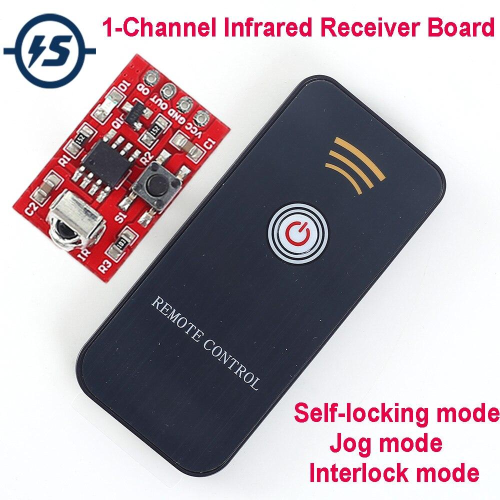 DC 3 V-5 V 1 canal inalámbrico receptor de infrarrojos módulo con mando a distancia para aprender DIY kit de