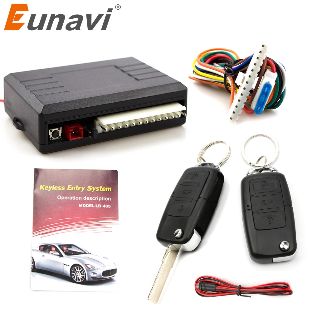 Eunavi Universal Car Alarm System Auto Door Remote Central Control Lock Locking Keyless LED Keychain