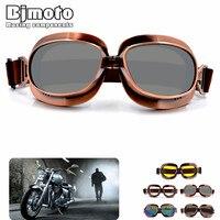 Bjmoto Retro Pilot Goggles Motorcycle goggles glasses for Harley ATV Bike Copper Motorcross Sport Helmet Goggle
