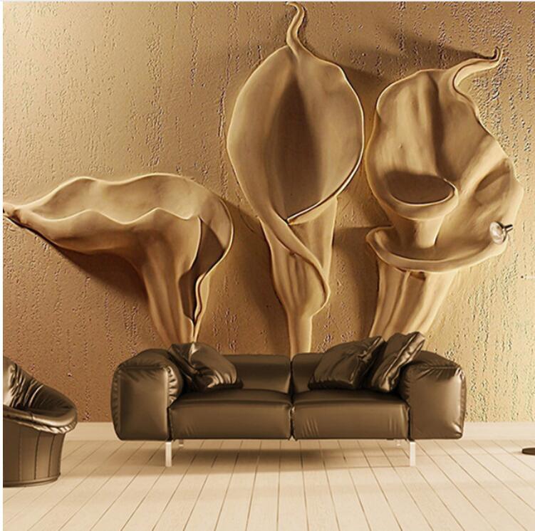 Calla Flor de Lírio de Ouro Em Relevo papel de parede Murais de Arte Abstrata Moderna Sala de estar Decoração de Parede Murais De Parede 3d À Prova D Água