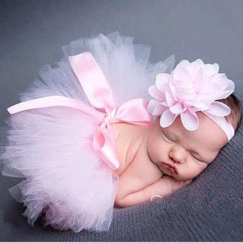 Nouveau nouveau-né bébé filles Tutu jupe bandeau ensemble en mousseline de soie fleur bandeau infantile enfant en bas âge dentelle bande photographie accessoire DW986441