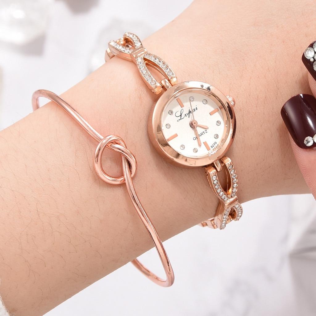 SYNOKE Women's 2pcs/Set Luxury Fashion Simple Diamond Strap Watch Heart Shaped Knot Bracelet Watch Feminino Drop Shipping 7.16