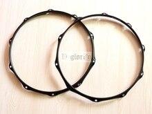 Cor preta 14 polegada 6 buraco/10 buraco ferro snare tambor aro/para cima e para baixo tambor aro
