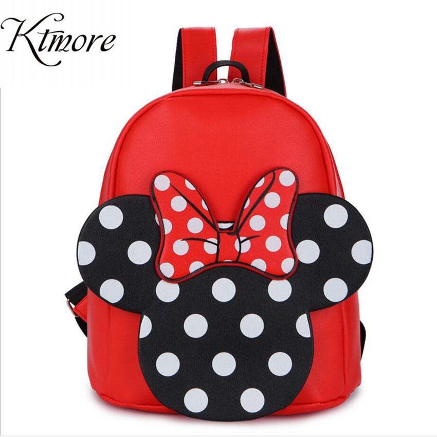 Mochila 2019 Mickey Minnie, bolso de piel sintética para mujer, mochila para mujer, agradable arco chicas adolescentes, mochila escolar, bolso bandolera