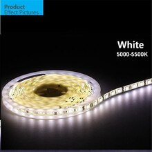 5m/roll Free shipping LED strip SMD 5050 LED softstrip 12V DC  White 5000-5500K High Brightness IP65