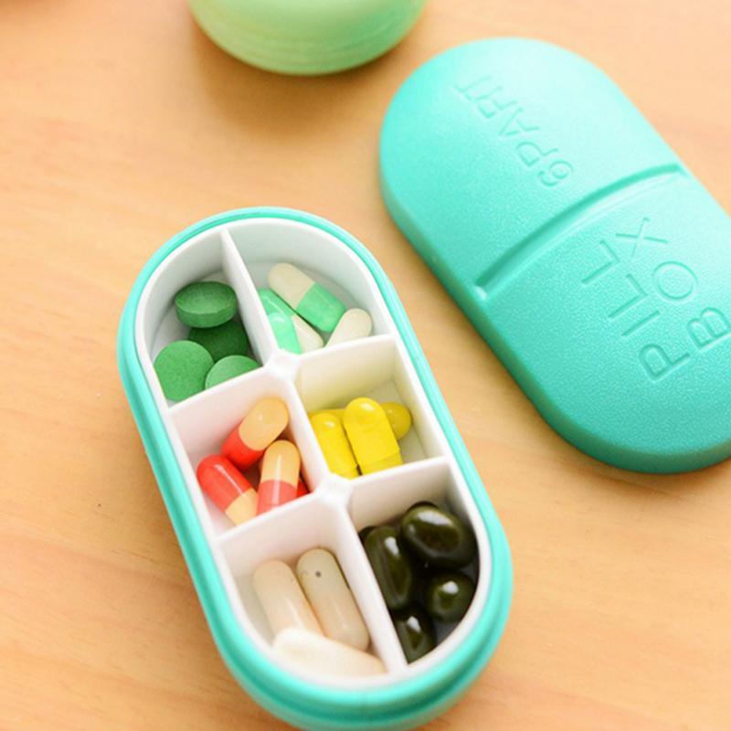 Lindo Mini 6 ranuras portátil caja médica para píldoras drogas organizador para caja de medicamentos compartimento de caja de la píldora