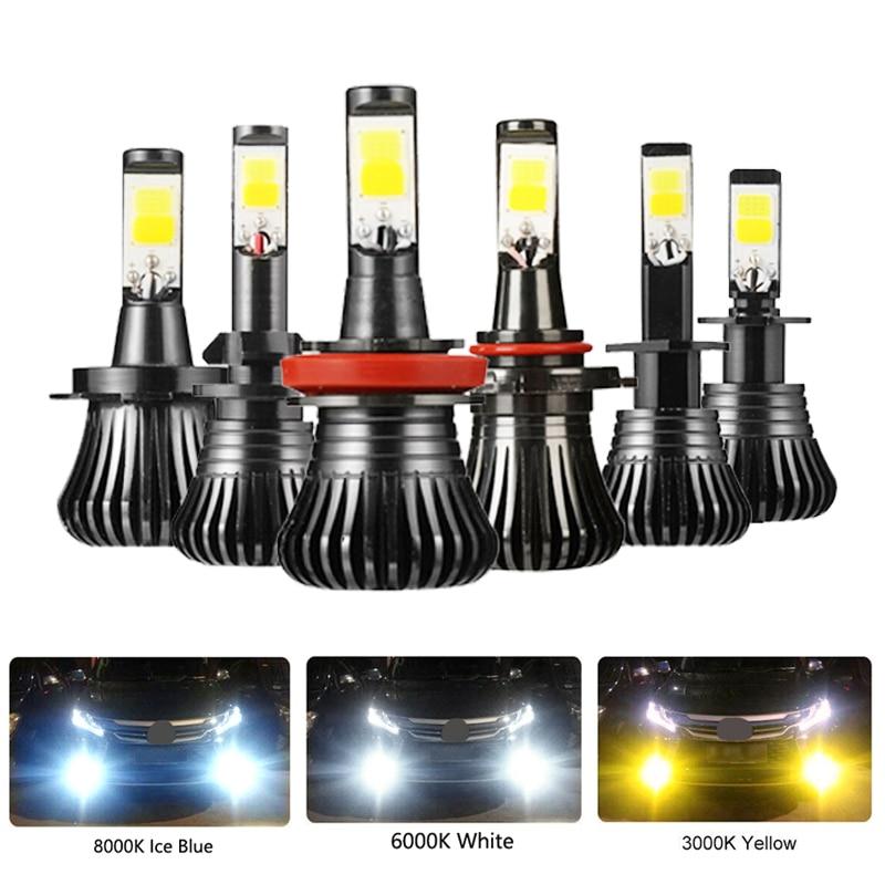 Niscarda COB H1 H4 H7 9006 Driving 8000K Ice Blue 6000K White 3000K Amber Yellow Car Fog Lights Bulbs Dual Color Auto LED Lamps