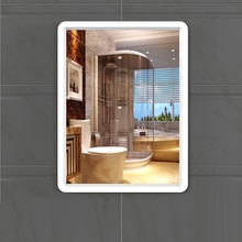 Bathroom mirror free punching wall mirror for bathroom square makeup mirror toilet wall Dressing mirror wx11200946
