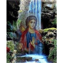 """DIY pintura de diamante redondo 5D """"Santo religioso"""" estampado de bordado punto de cruz mosaico Diamante de imitación decoración del hogar regalo"""