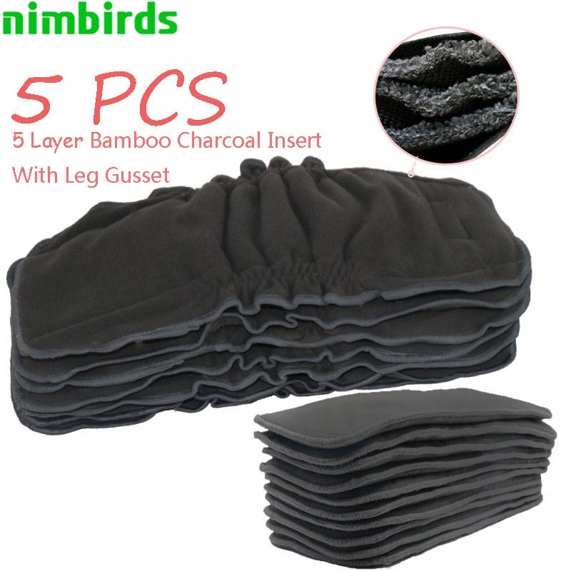 5 uds. Inserto reutilizable de carbón de bambú pañal de tela para bebé, 5 capas cada uno de carbón de inserción de pañal inserto para pañal de tela inserción de pañal