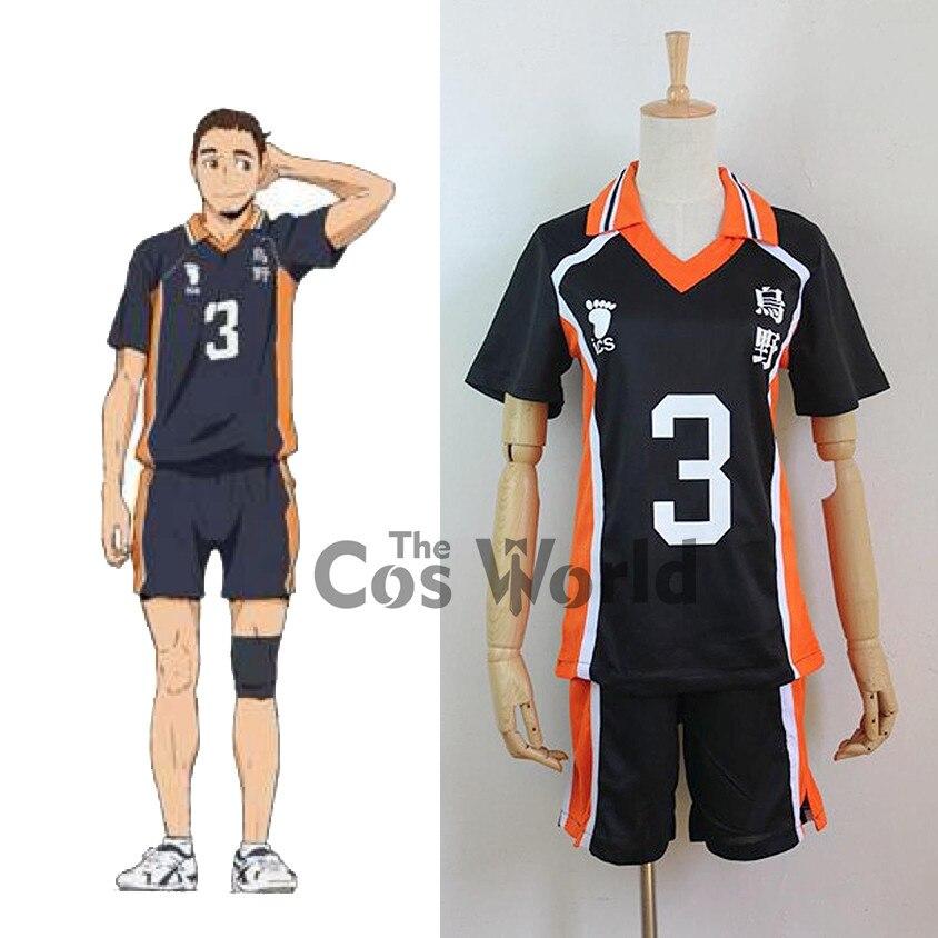 Haikyuu Karasuno Azumane Asahi No.3 uniforme de escuela secundaria camiseta Tops pantalones ropa deportiva Jersey Anime Cosplay disfraces