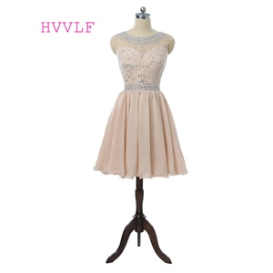 Champagne Homecoming Dresses A-line Cap Sleeves Chiffon Beaded Crystals Short Mini Cocktail Dresses