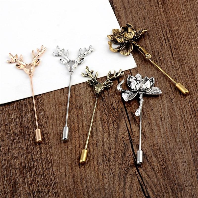 Vintage bronze flor de lótus veados broches xale feminino cardigan colarinho pinos acessórios metal liga chapeamento proce