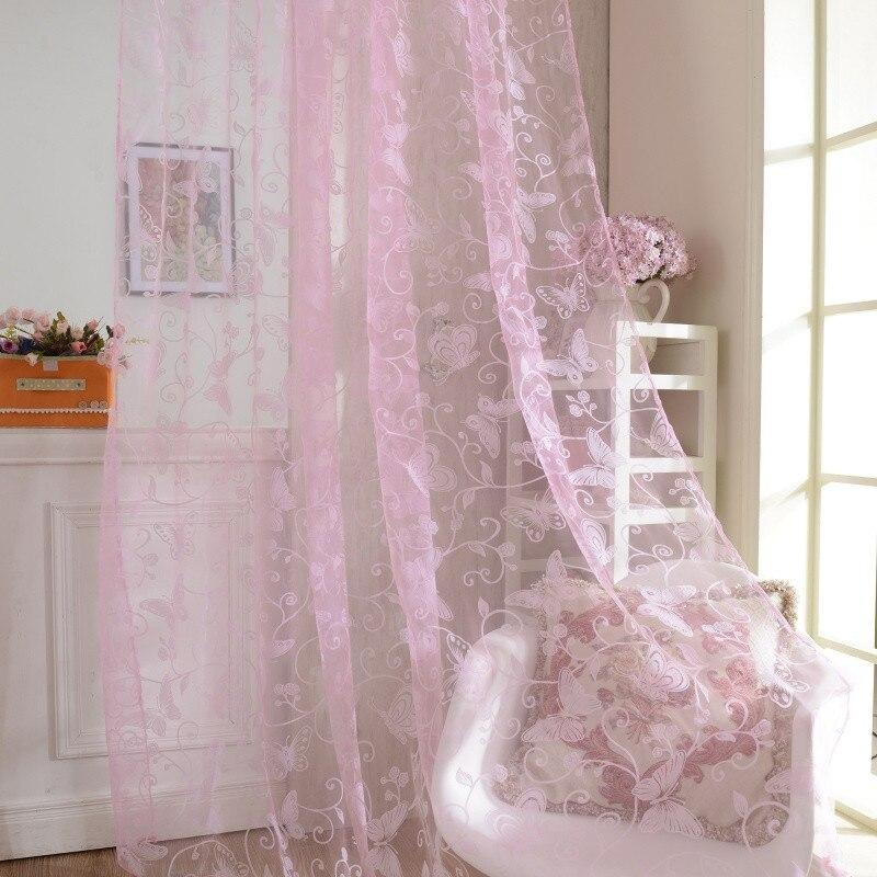 95CM*200CM Yarn Curtains Filament Curtains Thread Salon Tulle Curtains Window Curtain Living Room Butterfly Door Rod Pole Style